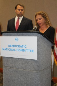 Debbie Wasserman Schultz speaking at a DNC press conference in Cleveland