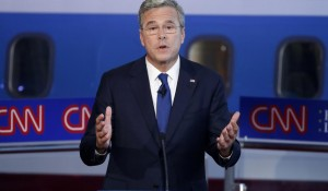Republican presidential candidate Gov. Jeb Bush speaks during the CNN Republican presidential debate at the Ronald Reagan Presidential Library and Museum on Sept. 16, 2015
