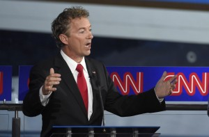 Republican presidential candidate, Sen. Rand Paul, R-Ky., speaks during the CNN Republican presidential debate at the Ronald Reagan Presidential Library and Museum on Wednesday, Sept. 16, 2015, in Simi Valley, Calif. (AP Photo/Mark J. Terrill)