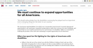 Screenshot of Clinton's Website's Disability Rights Page