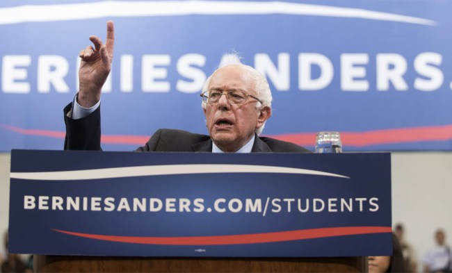 Democratic presidential candidate Sen. Bernie Sanders, I-Vt., speaks at a town hall meeting with students at George Mason University in Fairfax, Va., on Wednesday, Oct. 28, 2015. (AP Photo/Kevin Wolf)