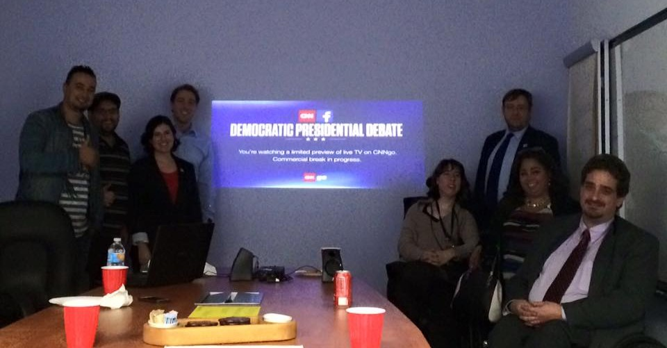 Attendees enjoying ResepctAbility Debate Watching Party