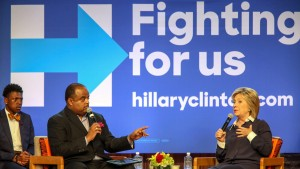 Hillary Clinton at a town hall meeting at Claflin University in South Carolina
