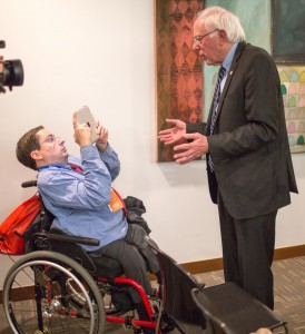 Justin Chappell interviews Democratic presidential hopeful Bernie Sanders in Des Moines, Iowa.