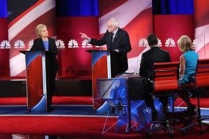 CHARLESTON, SC - JANUARY 17:  Democratic presidential candidates Hillary Clinton (L) and Senator Bernie Sanders (I-VT) field questions from moderators Lester Holt and Andrea Mitchell (R) during the Democratic Candidates Debate hosted by NBC News and YouTube on January 17, 2016 in Charleston, South Carolina. This is the final debate for the Democratic candidates before the Iowa caucuses.  (Photo by Andrew Burton/Getty Images)