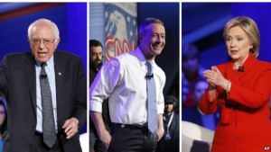 Democratic presidential candidates Bernie Sanders, Martin O'Malley and Hillary Clinton at CNN's town hall at Drake University in Des Moines, Iowa, on Monday