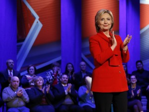 Democratic presidential candidate Hillary Clinton at CNN's town hall at Drake University in Des Moines, Iowa, on Monday