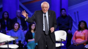 Democratic presidential candidate Bernie Sanders at CNN's town hall at Drake University in Des Moines, Iowa, on Monday