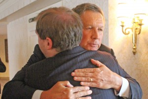 During the summer, Gov. John Kasich hugged James after having a conversation about Autism and Asperger's, which James has.