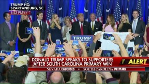Donald Trump giving his victory speech in Spartanburg, S.C., after winning the South Carolina primary