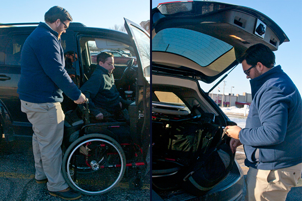 Two images. Left: Respectability's Ryan Nobile holding Justin Chappell's wheelchair as Justin gets himself into the van. Right: Ryan putting Justin's wheelchair in the trunk of the van.