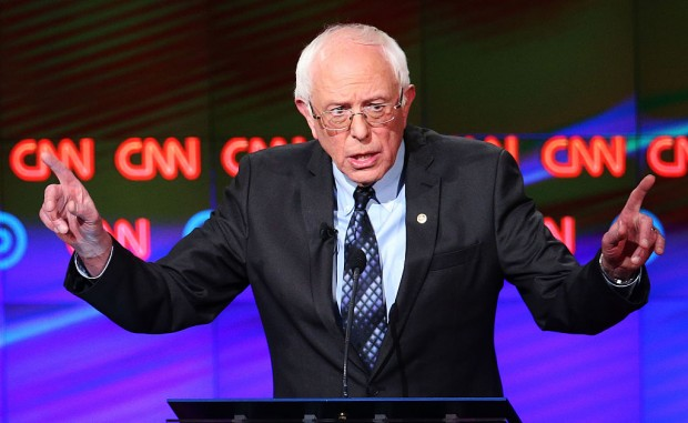 Bernie Sanders at the CNN Democratic Debate in Flint, Michigan