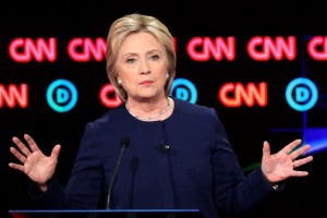 Hillary Clinton at the CNN Democratic Debate in Flint, Michigan