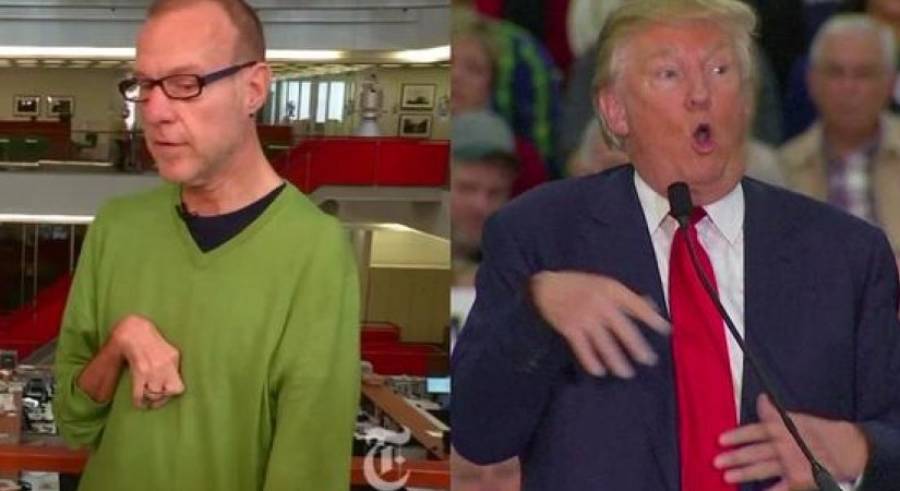 Screenshot asserting that Trump is publicly poking fun at an award-winning reporter who has significant physical disabilities.