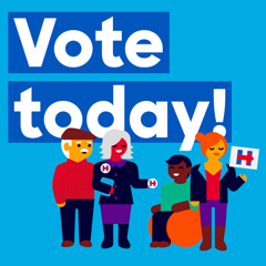 Image: Text saying Vote today! with four cartoon individuals including an African American male in a wheelchair, all wearing Hillary Clinton paraphernalia