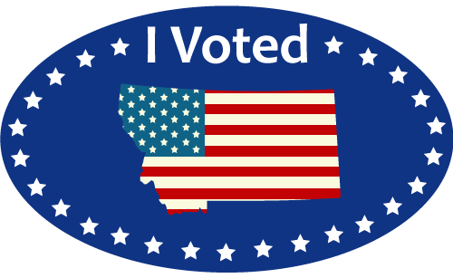 "Montana Voting Sticker: text of ""I Voted"" with image of outline of state of Montana filled in with American flag inside a circle with stars as a border"