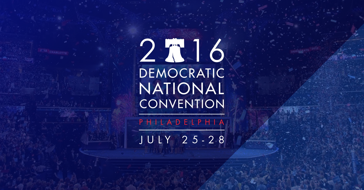 Text: 2016 Democratic National Convention - Philadelphia - July 25-28