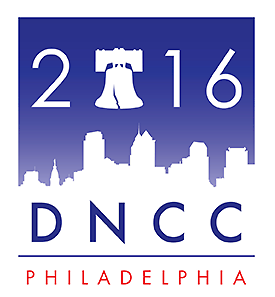 2016 DNCC Logo - text include 2016 DNCC Philadelphia, with liberty bell and Philadelphia skyline in background