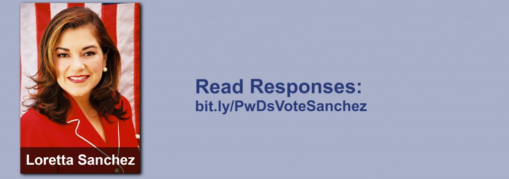 Click on the image to view all of Loretta Sanchez's answers to the questionnaire.