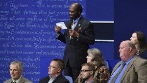 James Carter asks a question during the debate.