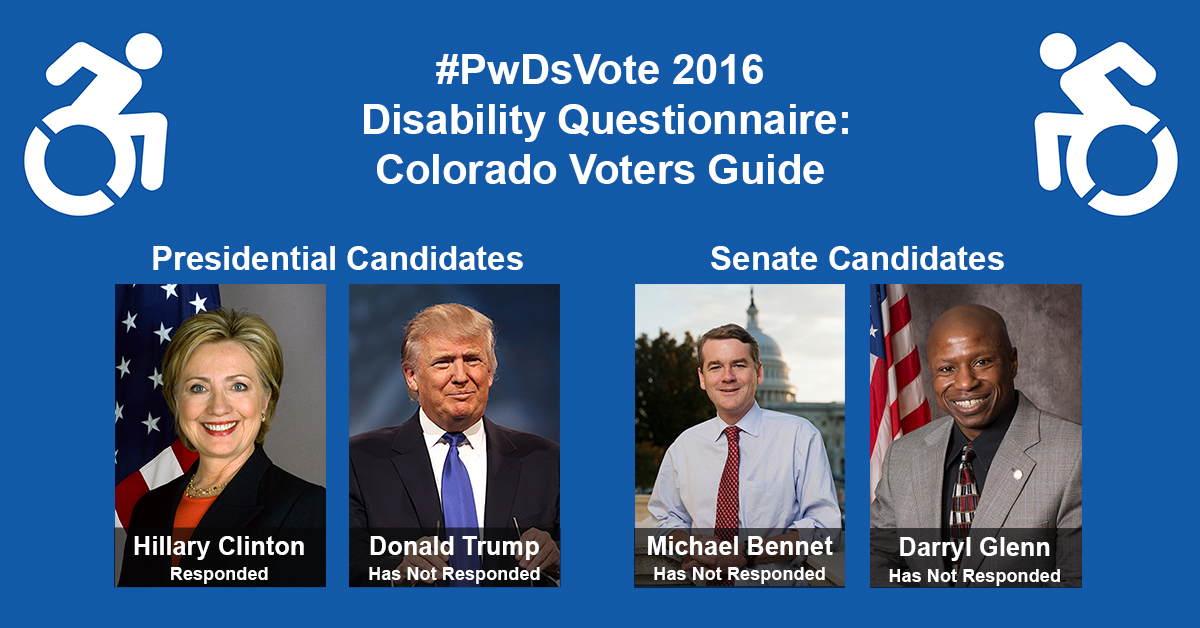 """Text in Image: #PwDsVote 2016 Disability Questionnaire: Colorado Voter Guide. Presidential Candidates: headshot of Clinton with text """"Hillary Clinton, Responded""""; headshot of Trump with text """"Donald Trump, Has Not Responded."""" Senate Candidates: headshot of Bennet with text """"Michael Bennet, Has Not Responded""""; headshot of Glenn with text """"Darryl Glenn, Has Not Responded."""""""