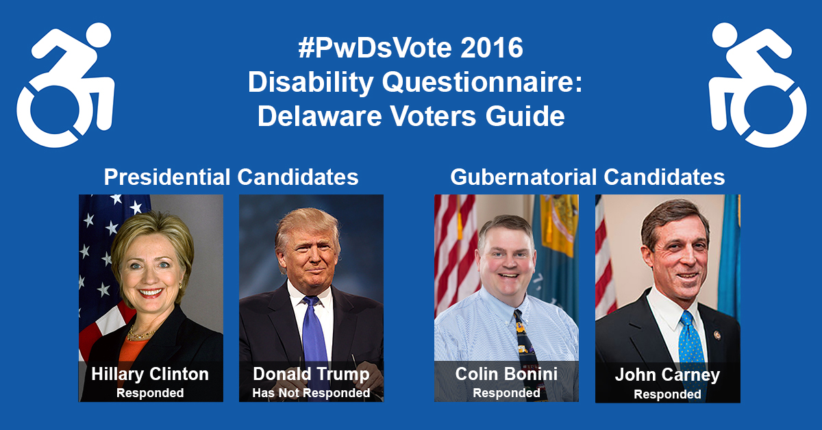 "Text in Image: #PwDsVote 2016 Disability Questionnaire: Delaware Voter Guide. Presidential Candidates: headshot of Clinton with text ""Hillary Clinton, Responded""; headshot of Trump with text ""Donald Trump, Has Not Responded."" Gubernatorial Candidates: headshot of Bonini with text ""Colin Bonini, Responded""; headshot of Carney with text ""John Carney, Responded."""