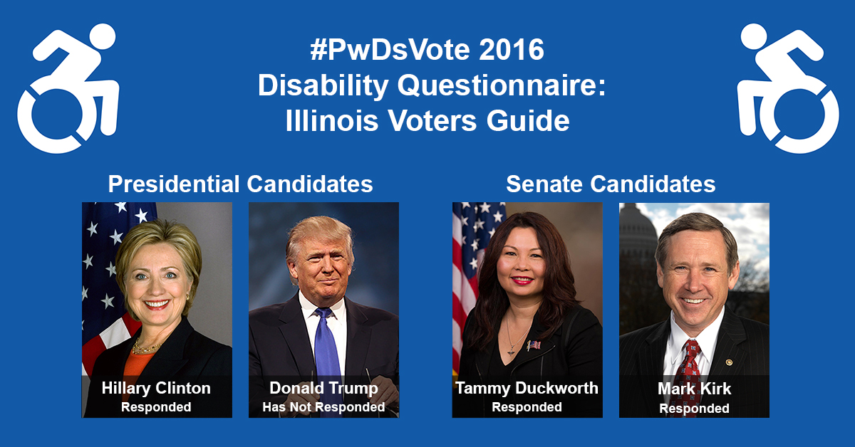 "Text in Image: #PwDsVote 2016 Disability Questionnaire: Illinois Voter Guide. Presidential Candidates: headshot of Clinton with text ""Hillary Clinton, Responded""; headshot of Trump with text ""Donald Trump, Has Not Responded."" Senate Candidates: headshot of Duckworth with text ""Tammy Duckworth, Responded""; headshot of Kirk with text ""Mark Kirk, Responded."""