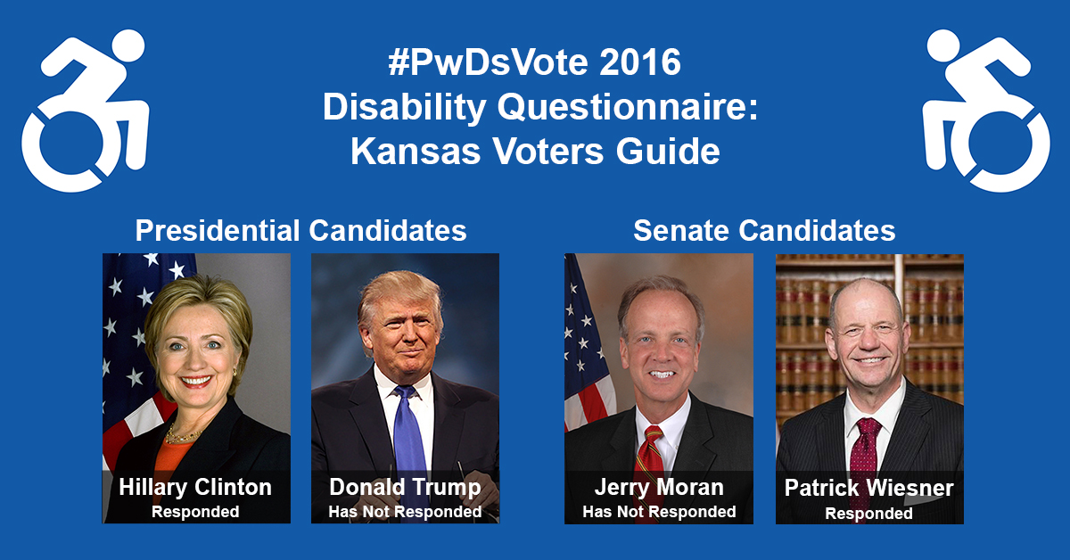 """Text in Image: #PwDsVote 2016 Disability Questionnaire: Kansas Voter Guide. Presidential Candidates: headshot of Clinton with text """"Hillary Clinton, Responded""""; headshot of Trump with text """"Donald Trump, Has Not Responded."""" Senate Candidates: headshot of Moran with text """"Jerry Moran, Has Not Responded""""; headshot of Wiesner with text """"Patrick Wiesner, Responded."""""""