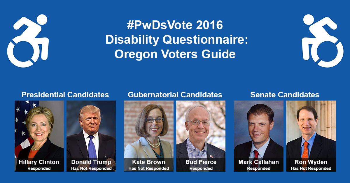 """Text in Image: #PwDsVote 2016 Disability Questionnaire: Oregon Voter Guide. Presidential Candidates: headshot of Clinton with text """"Hillary Clinton, Responded""""; headshot of Trump with text """"Donald Trump, Has Not Responded."""" Gubernatorial Candidates: headshot of Brown with text """"Kate Brown, Has Not Responded""""; headshot of Pierce with text """"Bud Pierce, Responded."""" Senate Candidates: headshot of Callahan with text """"Mark Callahan, Responded""""; headshot of Wyden with text """"Ron Wyden, Has Not Responded."""""""