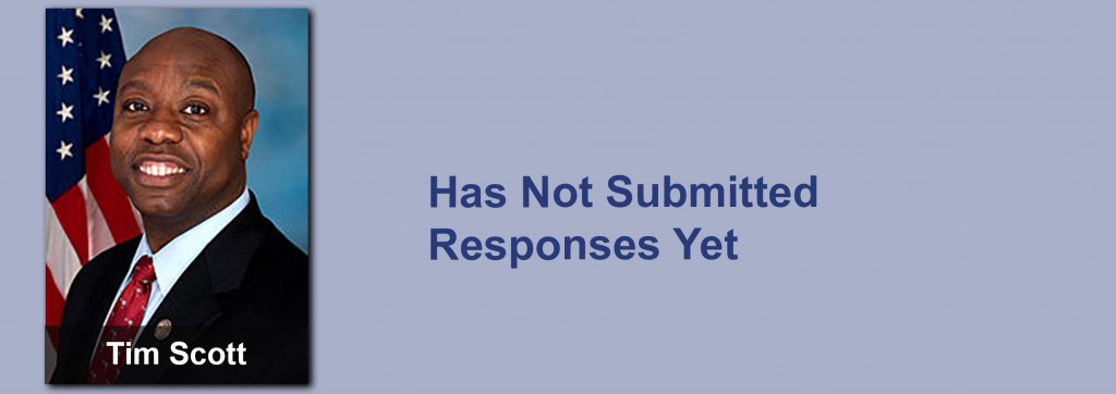 Tim Scott has not submitted his responses yet.