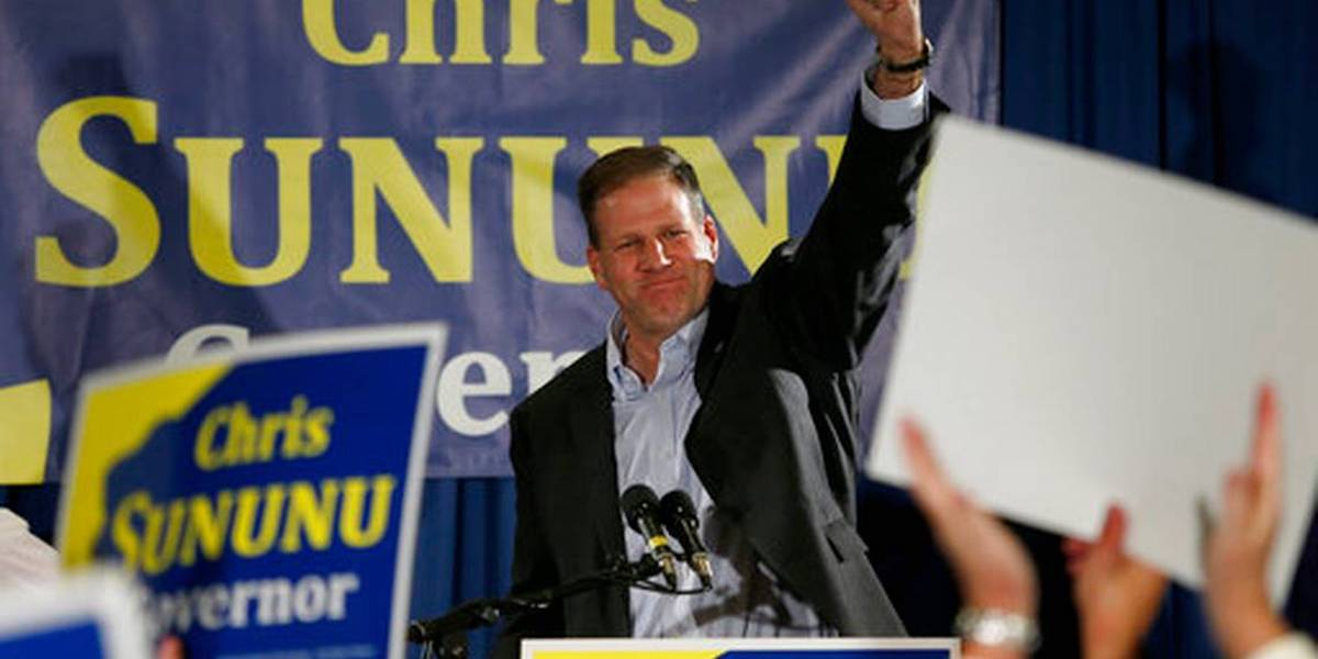 Chris Sununu speaks to supporters after winning re-election