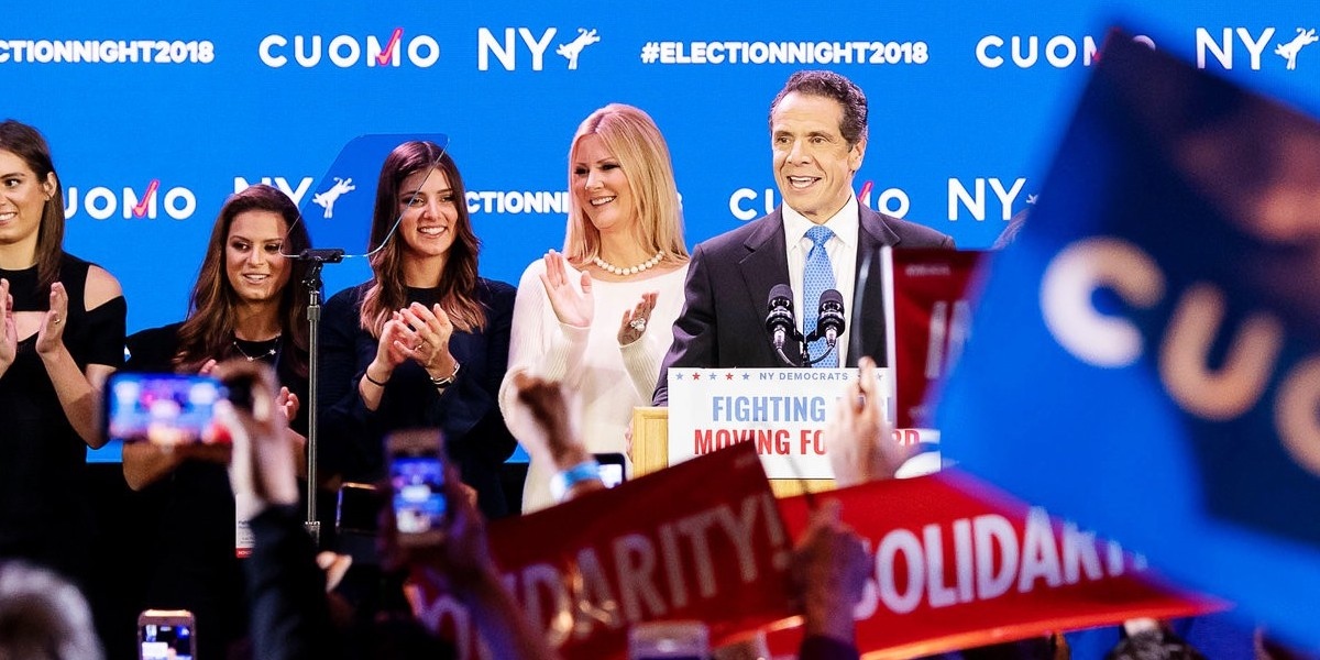 Andrew Cuomo speaks in front of supporters at his victory party