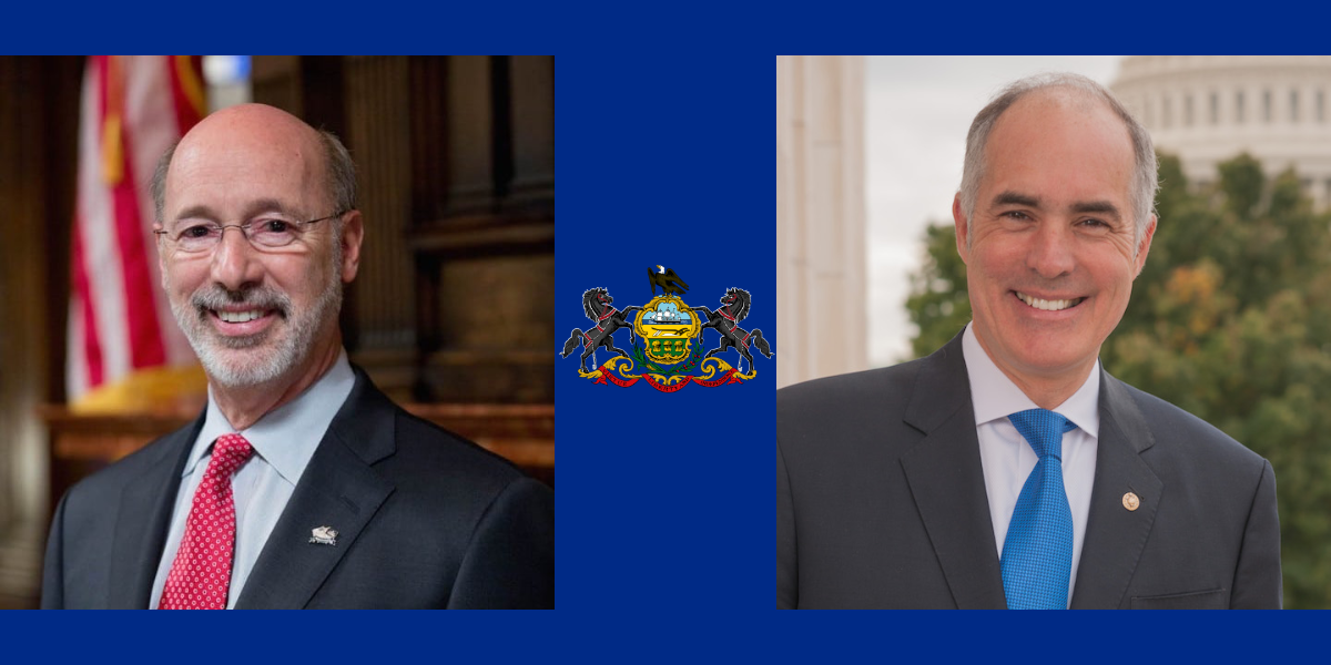 Photos of Tom Wolf and Bob Casey. Between them is the Pennsylvania Flag