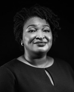 black and white photo of Stacey Abrams,
