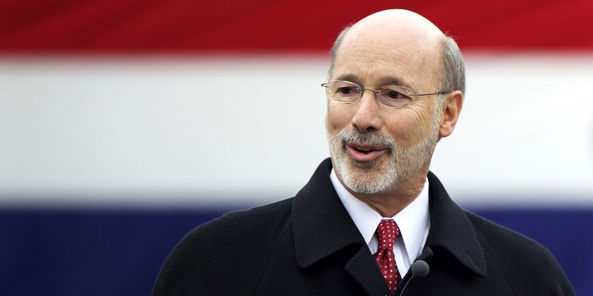 Tom Wolf delivers a speech after being sworn in as the 47th Governor of Pennsylvania during an inauguration at the State Capitol in Harrisburg, Pennsylvania January 20, 2015.