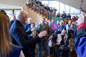 Biden talks to disabled veterans including a double amputee wheelchair-user