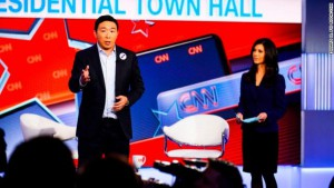 Yang speaks to the studio audience at the CNN town hall