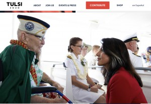 Gabbard bends down to speak to an elderly veteran in a wheelchair