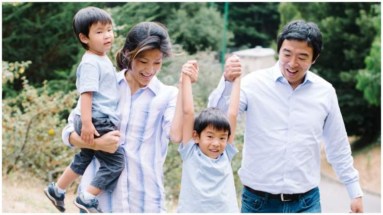 Yang with his wife and two sons