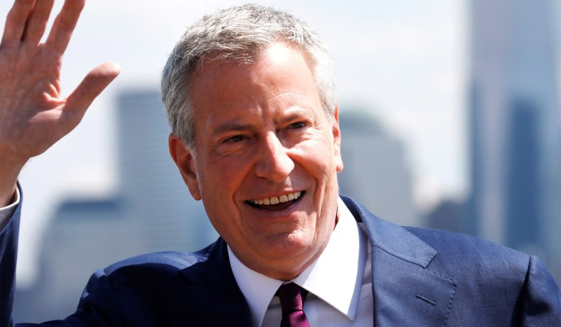 Bill de Blasio smiles for the camera