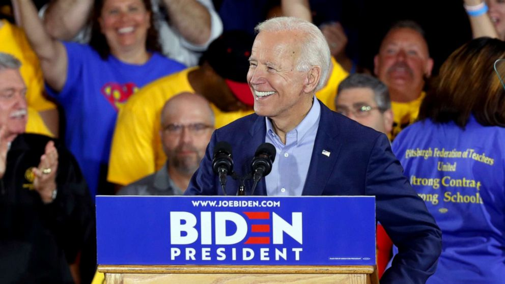 Biden speaks at his first presidential campaign rally