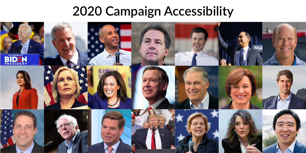 Headshots of 21 2020 candidates featured in this piece. Text: 2020 Campaign Accessibility