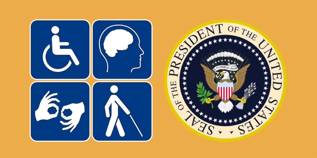 Accessibility Symbols and the seal of the President of the United States