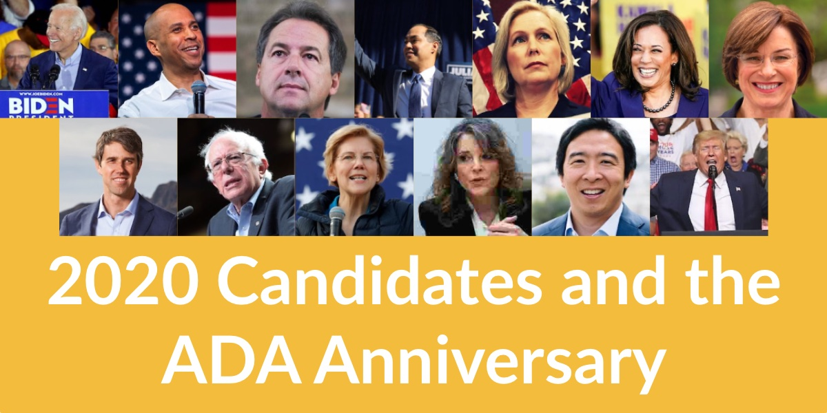 Photos of the 13 candidates who celebrated the anniversary of the ADA. Text: 2020 Candidates and the ADA Anniversary