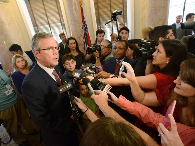 Former Florida Governor Jeb Bush speaks to reporters at the state Capitol on Thursday where he joined Gov. Phil Bryant at a bill-signing ceremony for the Equal Opportunity for Students with Special Needs Act passed by the Legislature this year. Joe Ellis/The Clarion-Ledger