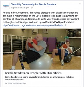 The Disability Community for Bernie Sanders Facebook page links to a post on Sanders' positions on disabilities created by Feel the Bern.