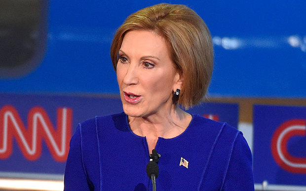 Republican presidential candidate Carly Fiorina speaks during the CNN Republican presidential debate at the Ronald Reagan Presidential Library and Museum on Sept. 16, 2015