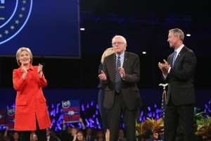 Democratic presidential candidates Bernie Sanders, Martin O'Malley and Hillary Clinton speak at the Iowa Democratic Party's Jefferson Jackson dinner