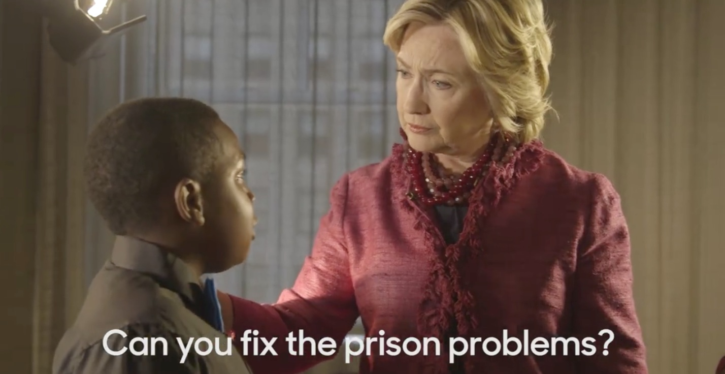 Sec. Hillary Clinton pledged to help people with mental health problems get assistance, not jail time, when asked by a young boy named Chris of the National Action Network.
