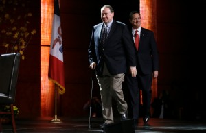 Republican presidential candidate, former Gov. Mike Huckabee speaks during the Presidential Family Forum, Friday, Nov. 20 in Des Moines, Iowa.